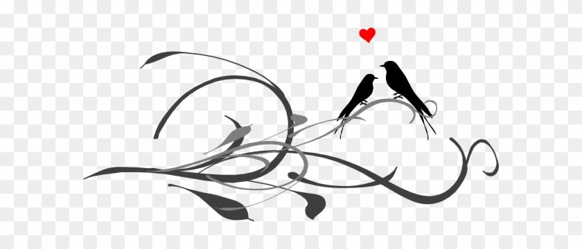 Love Birds On A Branch Clip Art - Love Birds Line Drawing #29234