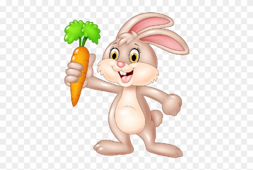 Bunny Rabbit Baby Cartoon Animals - Rabbit With Carrot Clipart #29243