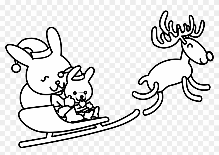 clip art santa rabbit black white line art christmas bunny coloring pages