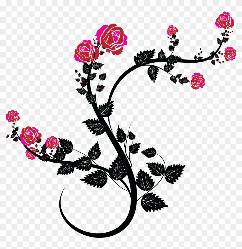 Free Clipart Of A Black And Pink Rose Design - Rose Flourish #29457