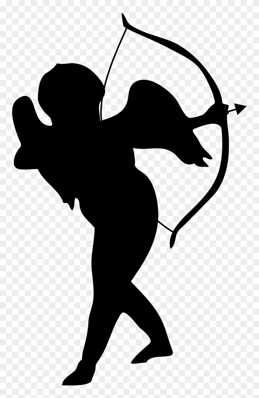 Small Cupid Silhouette - Cupid Silhouette Png #29546