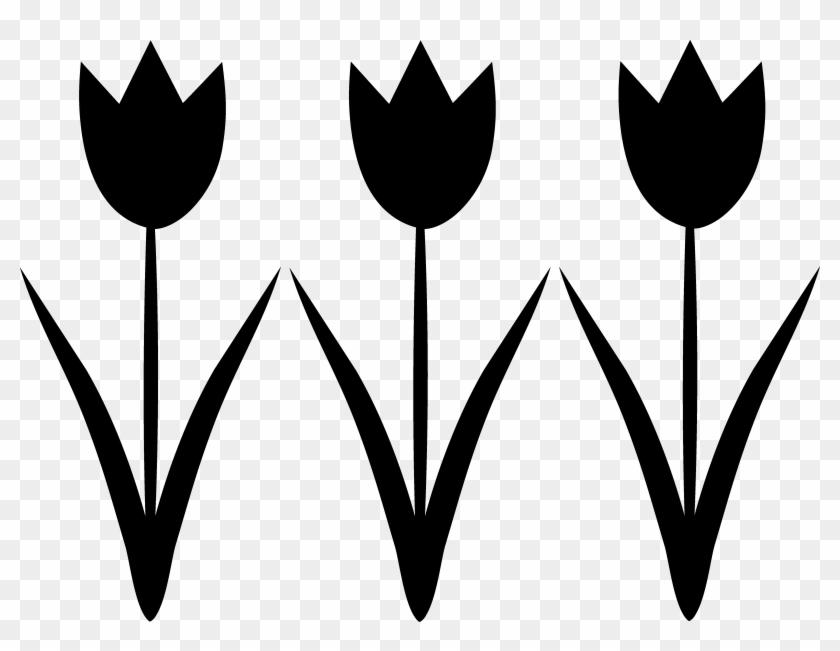Black - & - White - Clipart - Tulip Clipart Black And White #29560