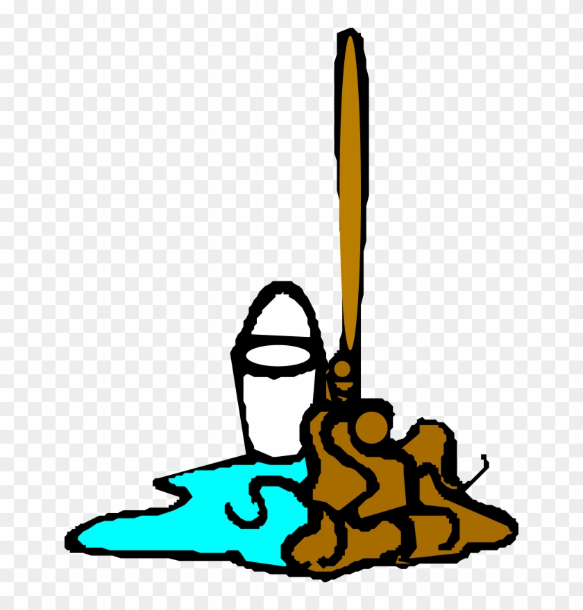 Free Vector Mop And Bucket Clip Art - Mop And Bucket Clipart Transparent #29627