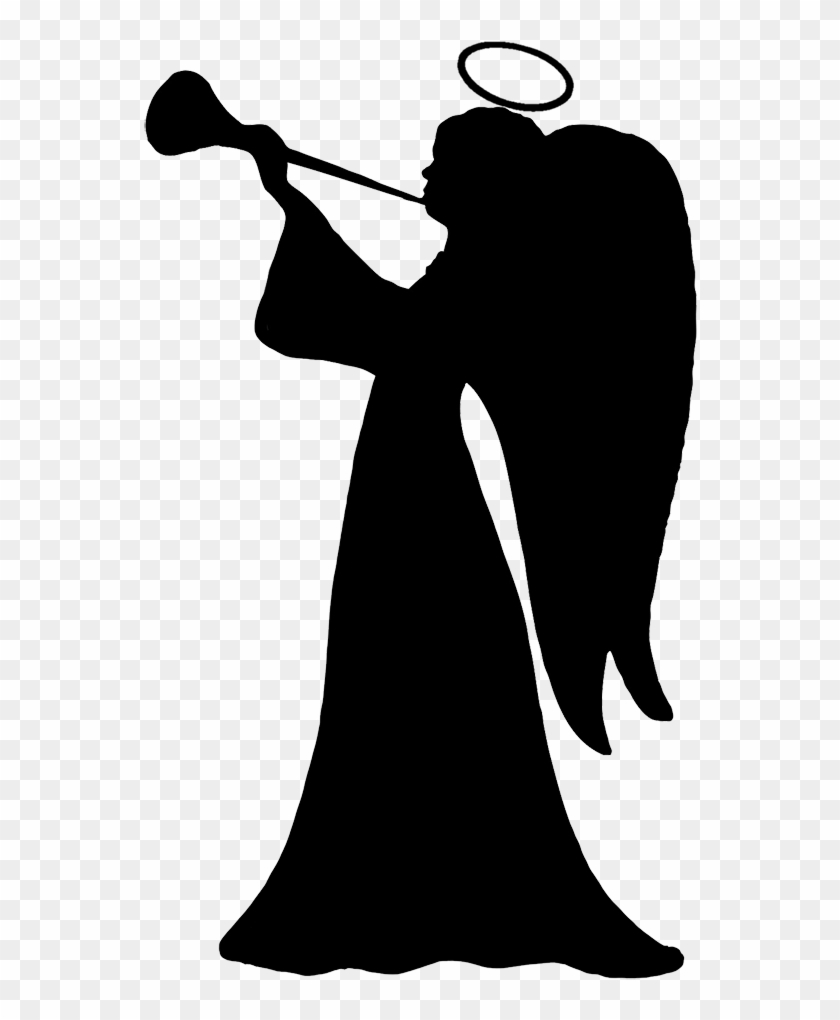 Trumpet Blowing Cherub, Angel Silhouette Clipart - Angels Silhouette Png #29684