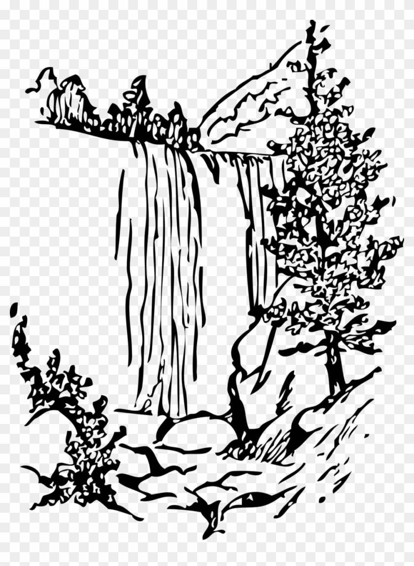 Free Waterfall By Cybergedeon Hmm - Falls Clipart Black And White #29686