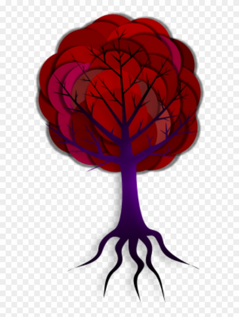 Vector Clip Art - Tree With Roots 5 Branches #29703