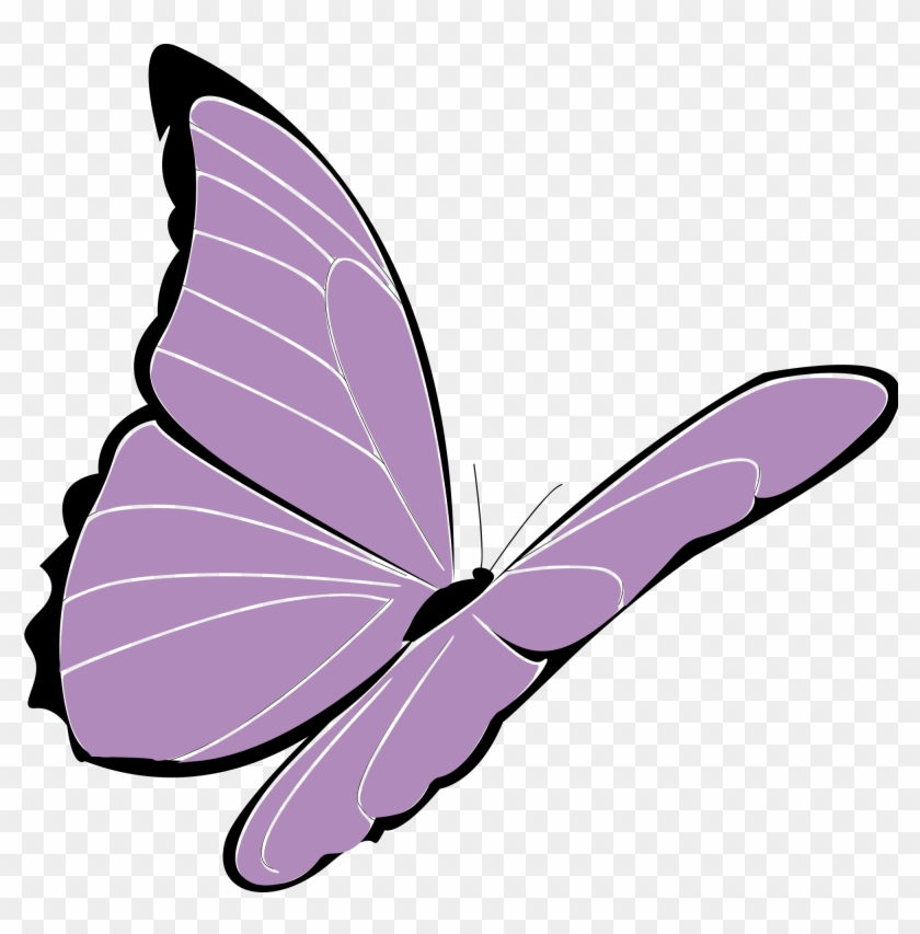 The Clip Art Below Is As Colorful As The Flowers And - Purple Butterfly Clipart #29763