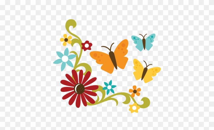 Flowers With Flourish Erflies Svg Files For Sbooking - Best Friends Forever Png #29781