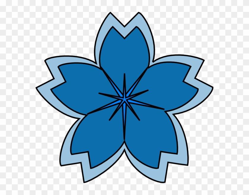 Blue Sakura Blossom Clip Art - Clip Art #29795