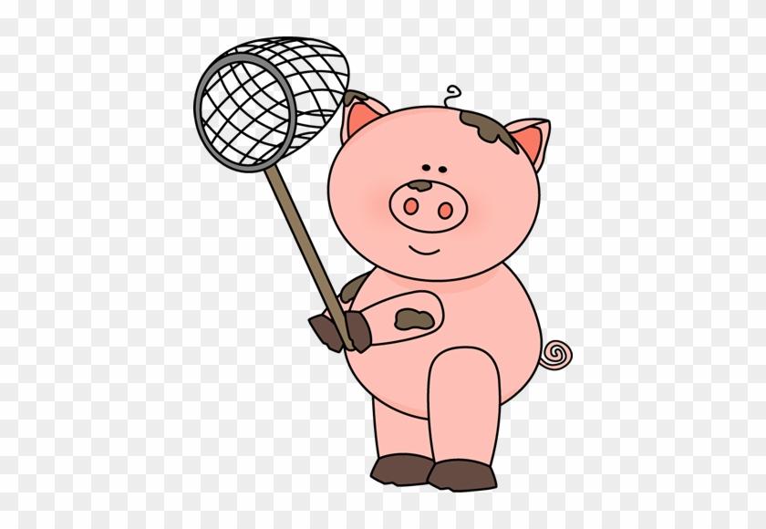 Pig Holding A Net Clip Art - Pig Clipart #29871