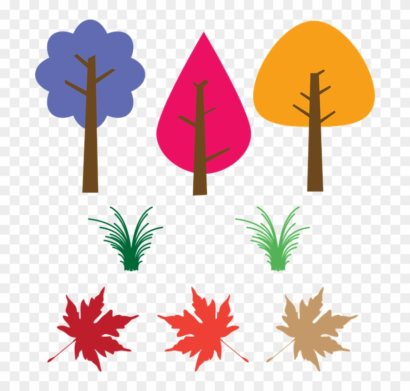Trees, Leaves, Fallen Leaves, Colorful - Fall Leaves Clip Art #29908
