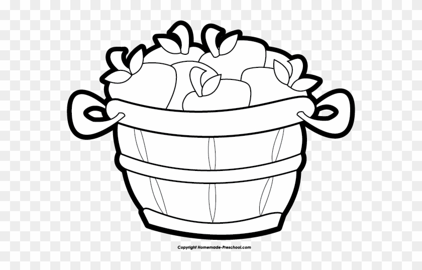 Drawn Basket Apple Clipart Black And White - Clip Art Bushel #29914