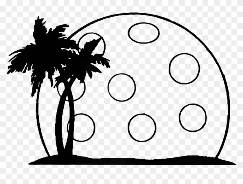 Pickleball Summer Palm Landscape Moon - Silhouette Palm Tree Clip Art #29926