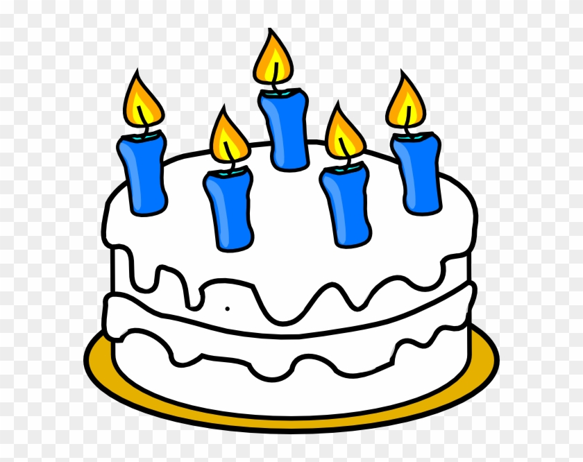 Birthday Cake With Blue Lit Candles Clip Art At Clker Birthday