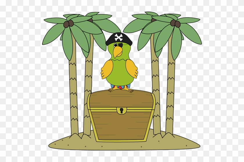 Pirate Parrot On An Island With Treasure Chest - Treasure On An Island #30037