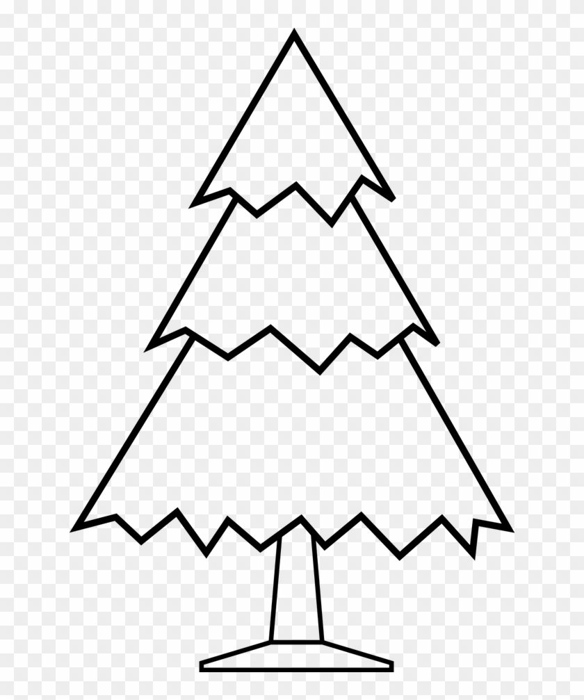 Simple Christmas Tree Free Digital Stamp - Clipart Black Nd White #30094