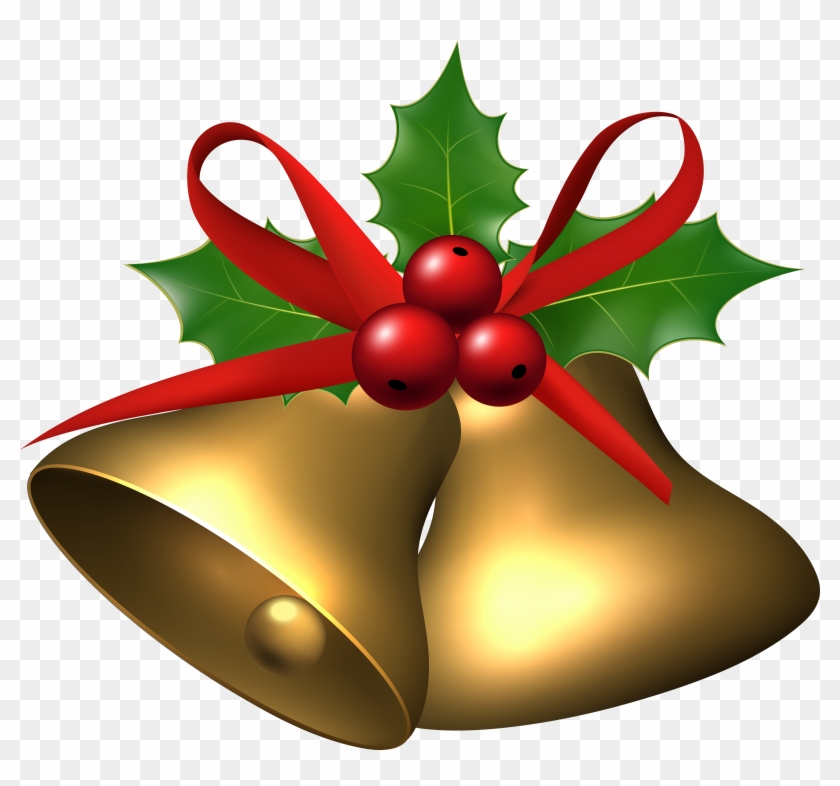 Large Christmas Bells With Holly - Large Christmas Bells With Holly #30112