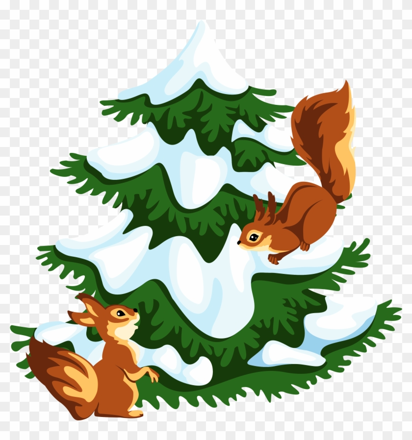 Transparent Snowy Tree With Squirrels Png Clipart - Snowy Tree Png Clipart #30294