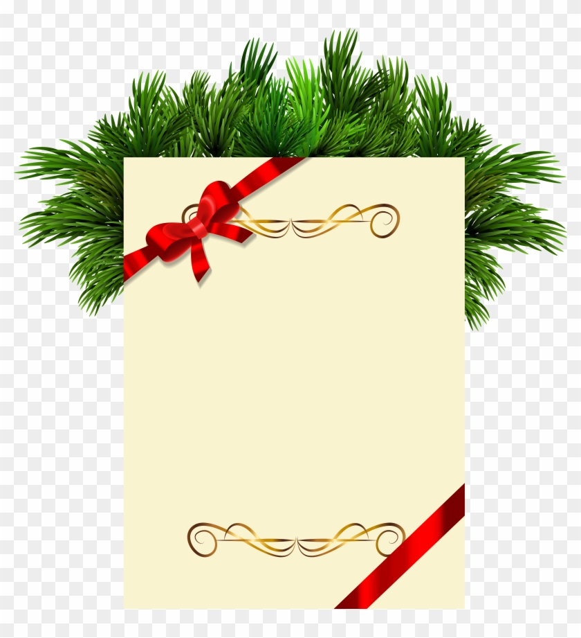 Christmas Blank With Pine Branches Png Clipart Picture - Hindi New Year Wishes #30322