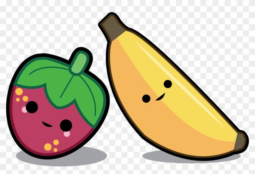 Cartoon Banana Images - Kawaii Strawberry And Banana #30384