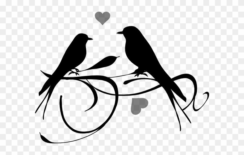 Love Birds Black Clip Art - ! 5'x7'area Rug #30401