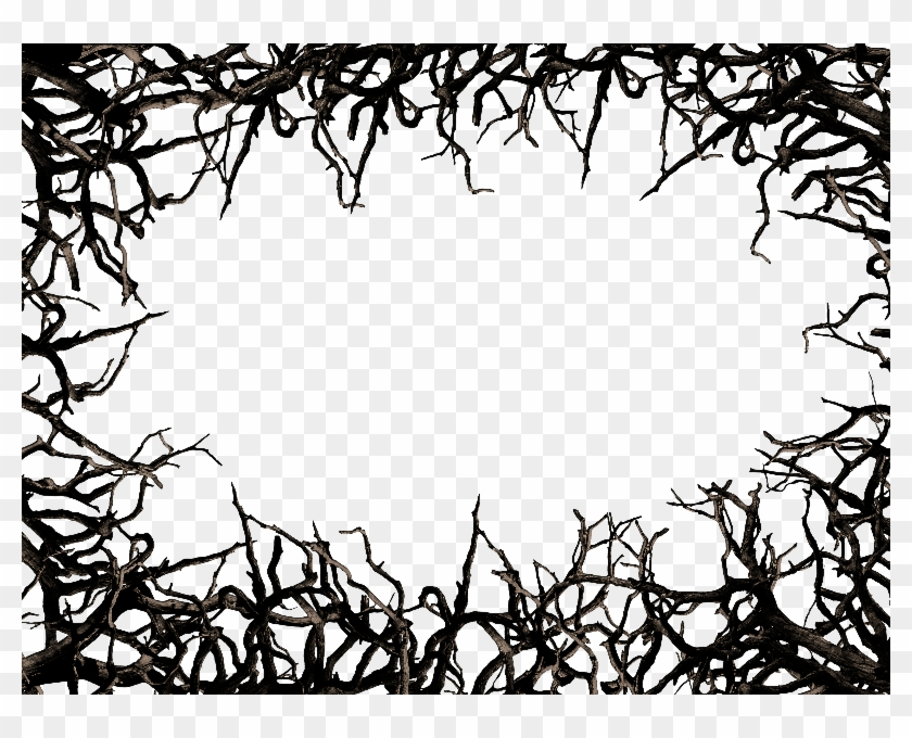 Dead Tree Branch Frame Border Png Clipart Free - Thorn Border Png #30410