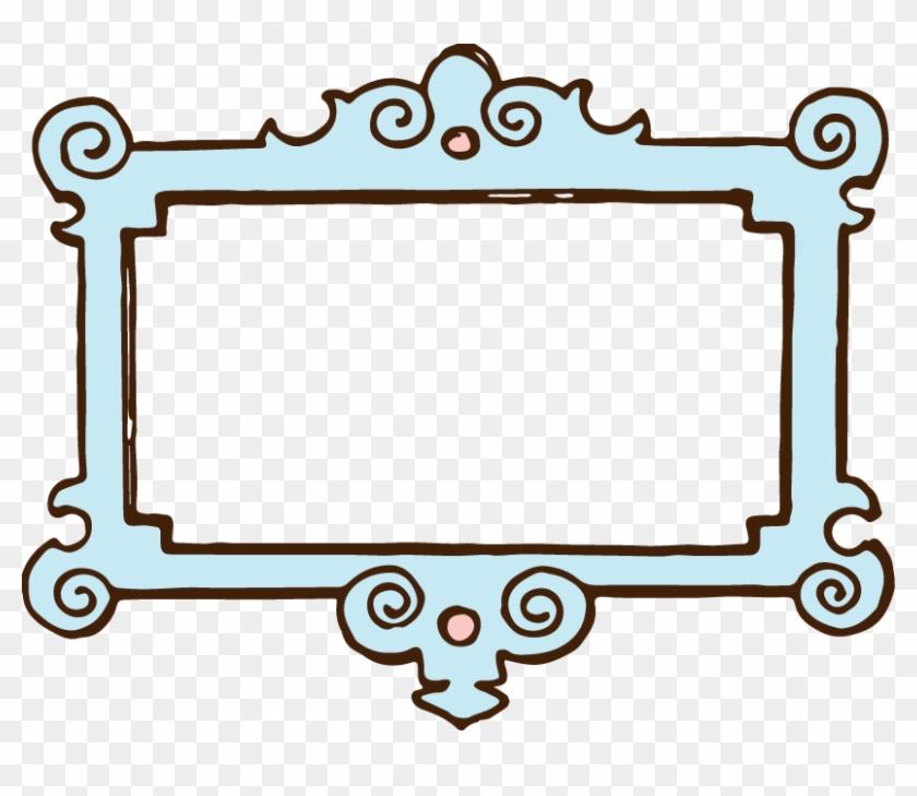 Blue Clip Art Frame - Cute Text Box Border #30460