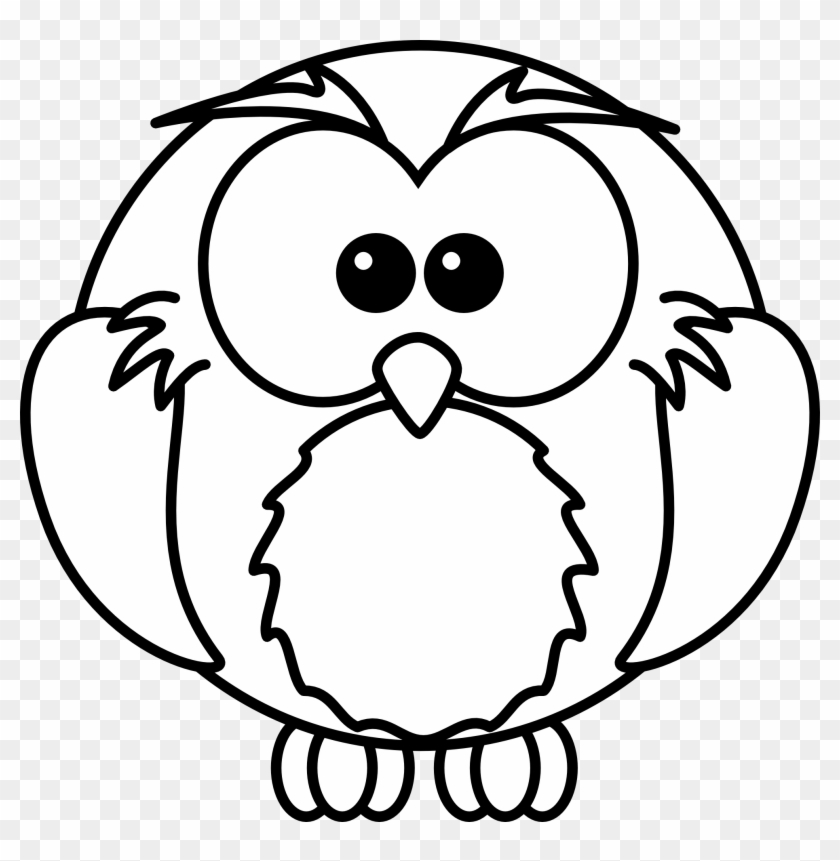 Cartoon Black And White - Clipart Black And White Owl #30481