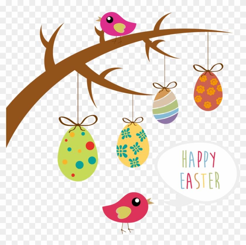 Easter Bunny Easter Egg Tree Clip Art - Easter Bunny Easter Egg Tree Clip Art #30522