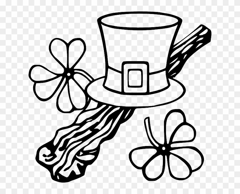 Hat Black, Outline, Tree, White, Branch, Clothing, - St Patrick's Day Clip Art #30565