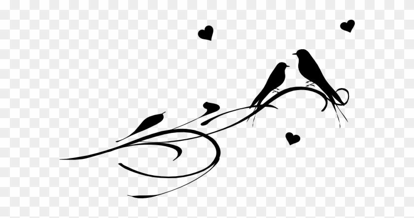 Drawn Lovebird Branch Silhouette Clip Art - Love Birds On A Branch #30901