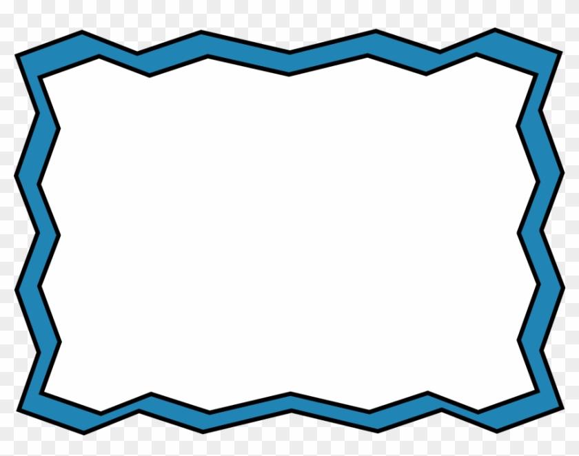 Blue Zig Zag Frame - Blue Clip Art Border #30996