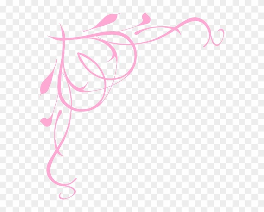 Scroll Art Borders - Pink Heart Corner Borders #31024