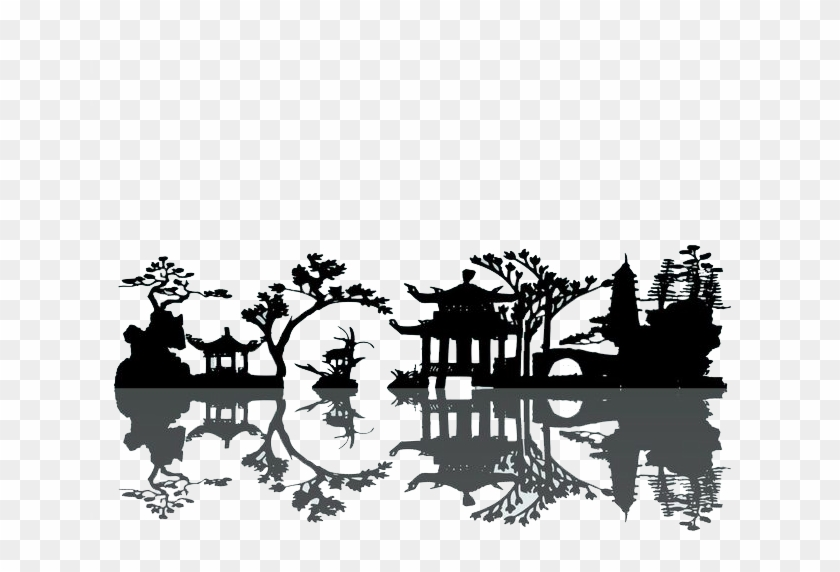 China Silhouette Landscape Painting - Elements Of Chinese Garden #31036