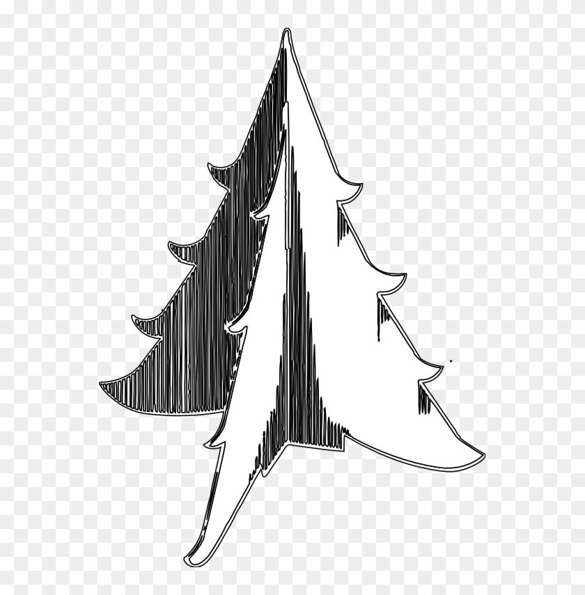 Christmas Tree 1 Black White Line Art Tatoo Tattoo - Illustration #31446