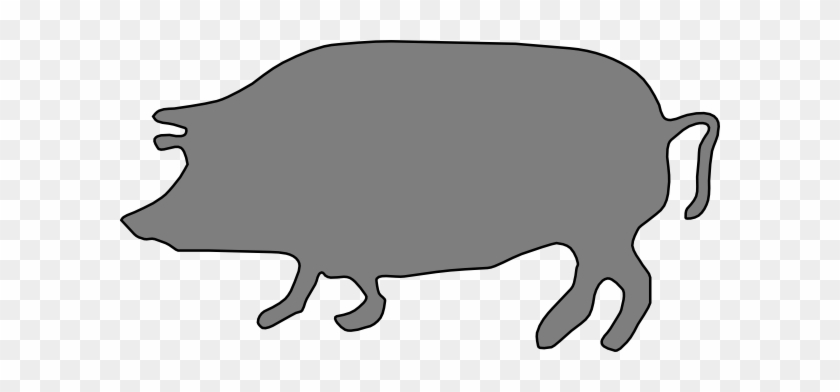 Gray, Pig, Silhouette Clip Art - Pig Silhouette Clip Art #31595
