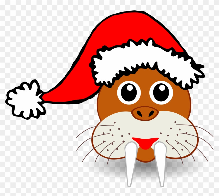 Winter Animal Clipart Free - Santa Claus Funny Hat #31702