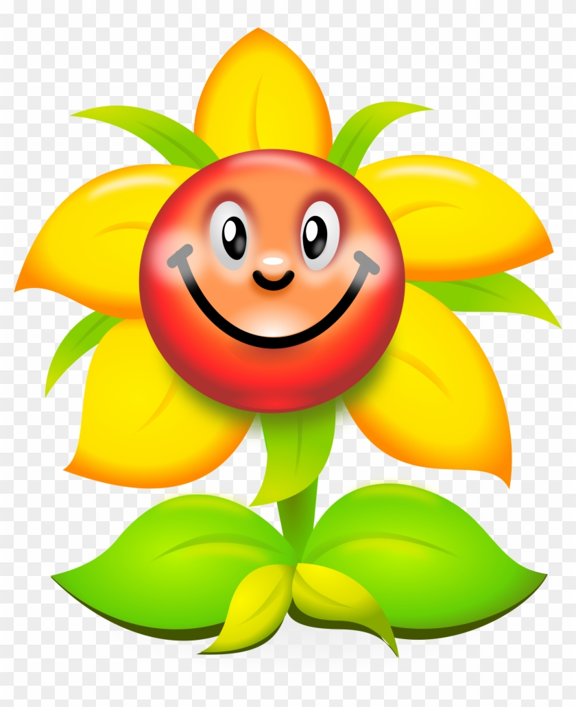 Yellow Flower Clipart Smiley Flower - Yellow Flower Clipart Smiley Flower #31878