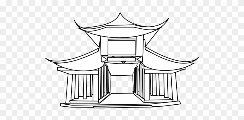 » Clip Art » Chinese Architecture Black White Line - Ancient Chinese Buildings Drawing #32096