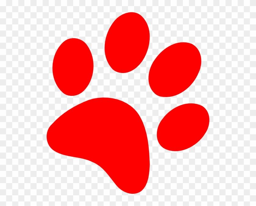Wildcat Paw Clip Art - Red Dog Paw Print #32112