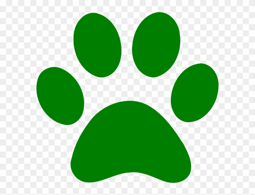 Green Paw Print Clip Art - Dark Green Paw Print #32119