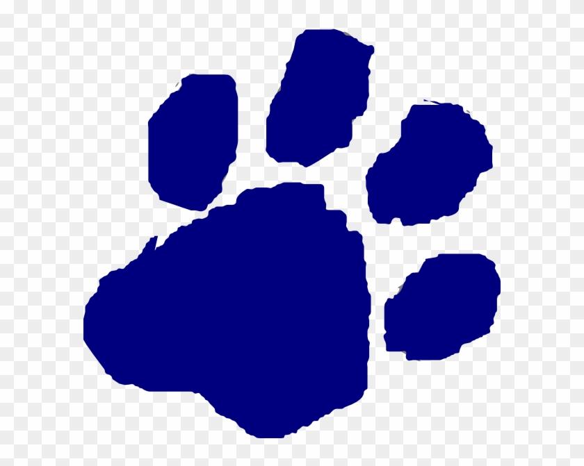 Blue Cougar Paw Clip Art #32127