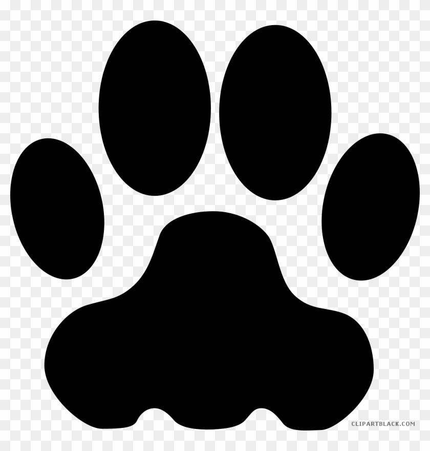 Cougar Paw Print Animal Free Black White Clipart Images - Dog Paw Clipart #32190