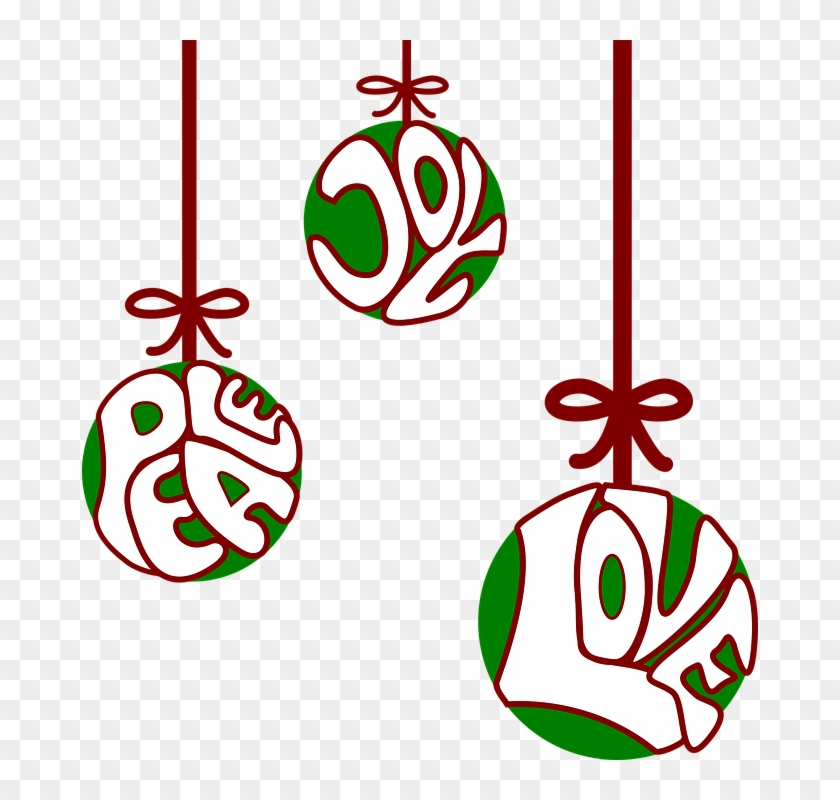 Balls Christian Christmas Decoration Joy Love - Joy Love Peace Clipart #32281