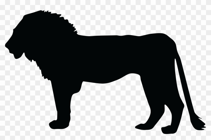 Free Clipart Of A Profiled Silhouetted Male Lion - Silhouette Of Lion #32331