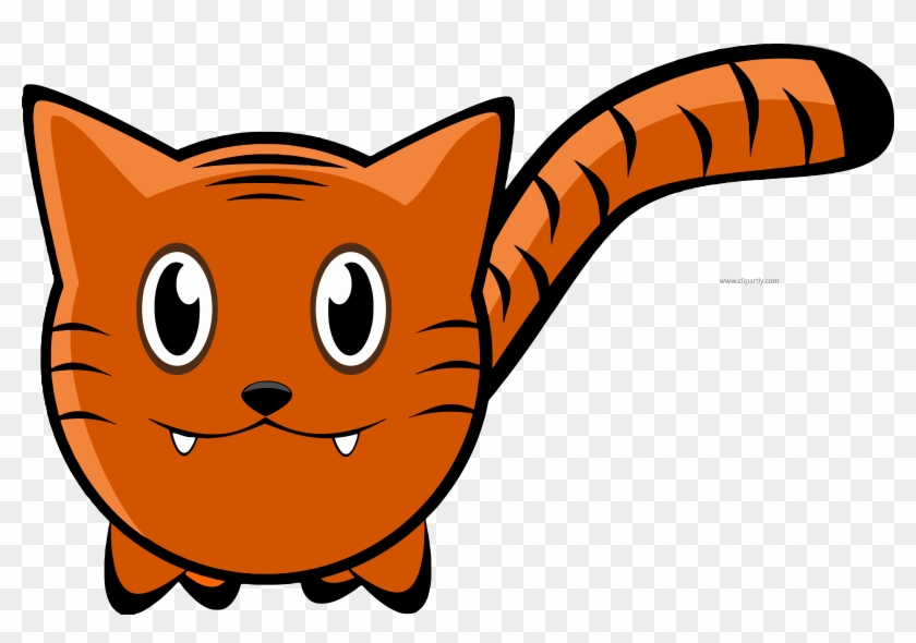 Orange Color Tigger Cat Clipart Png - Cartoon Tiger Embroidery Design #32345