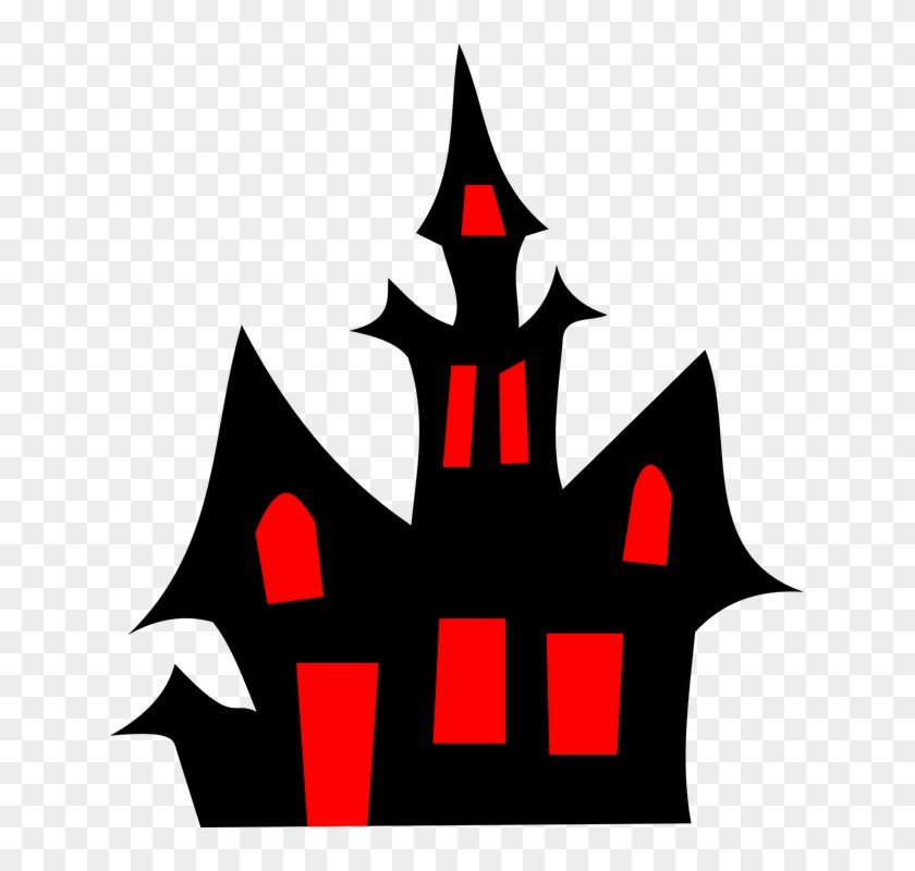House Halloween Silhouette Cartoon Dark Horror - Haunted House Clipart #32441