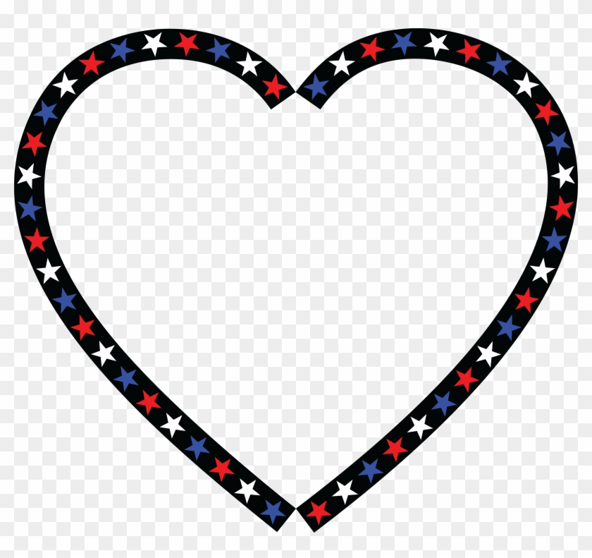 Free Clipart Of A Patriotic American Star Patterned - Red White Blue Heart #32735
