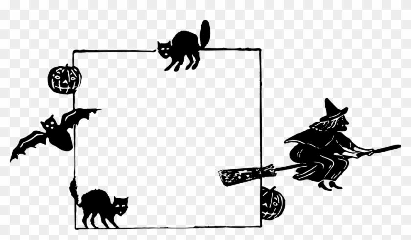Halloween Frame Witch Pumpkin Cat Scary Border - Vivir Lejos De Los Suegros #32839