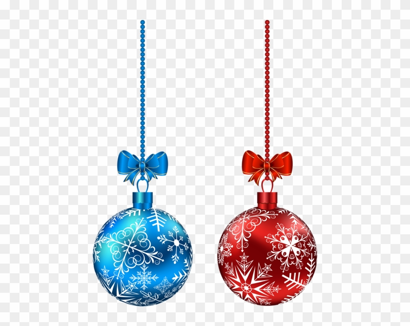 Blue And Red Hanging Christmas Balls Png Clip-art Image - Red And Blue Christmas Ornaments #32936